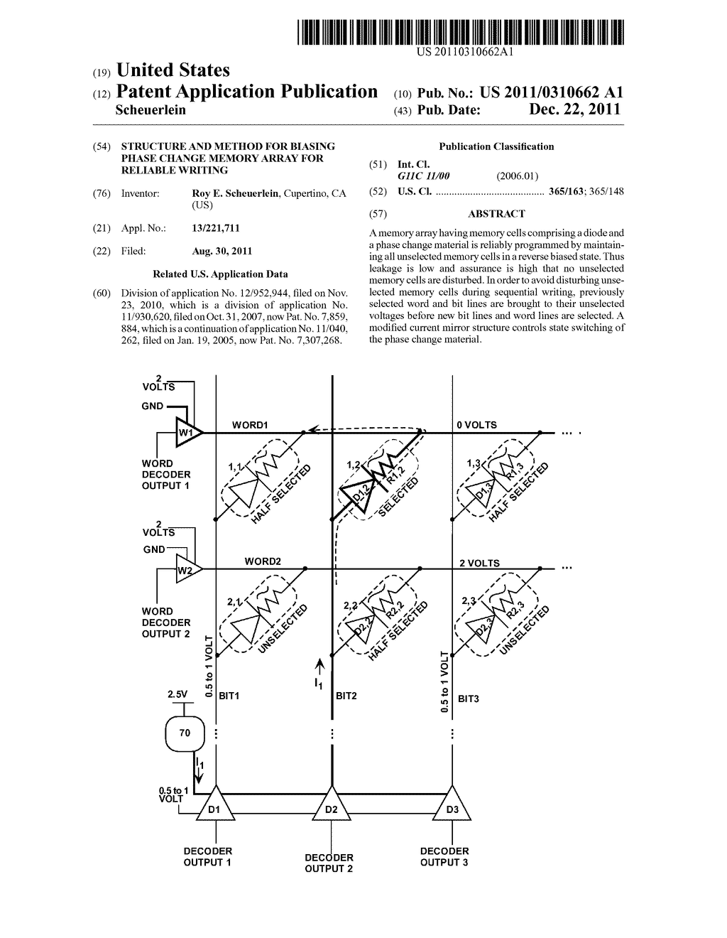 STRUCTURE AND METHOD FOR BIASING PHASE CHANGE MEMORY ARRAY FOR RELIABLE     WRITING - diagram, schematic, and image 01
