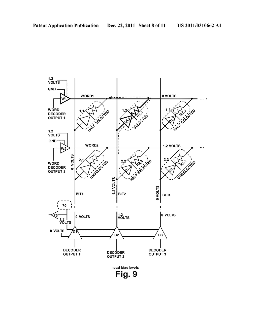 STRUCTURE AND METHOD FOR BIASING PHASE CHANGE MEMORY ARRAY FOR RELIABLE     WRITING - diagram, schematic, and image 09