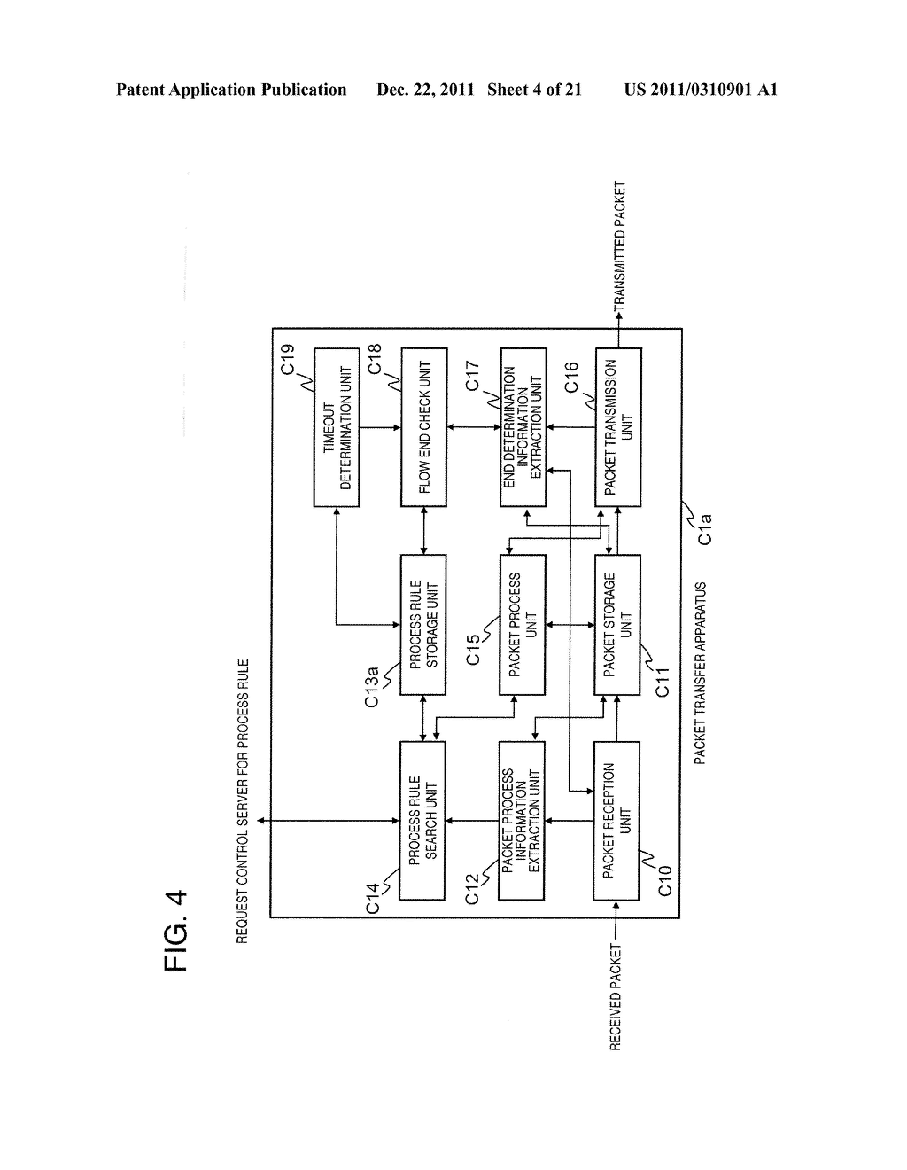 PACKET FORWARDING APPARATUS, COMMUNICATION SYSTEM, PROCESS RULE UPDATE     METHOD, AND PROGRAM - diagram, schematic, and image 05