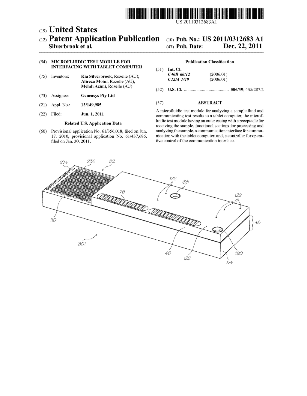 MICROFLUIDIC TEST MODULE FOR INTERFACING WITH TABLET COMPUTER - diagram, schematic, and image 01