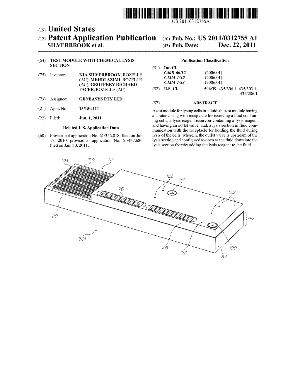 TEST MODULE WITH CHEMICAL LYSIS SECTION - diagram, schematic, and image 01