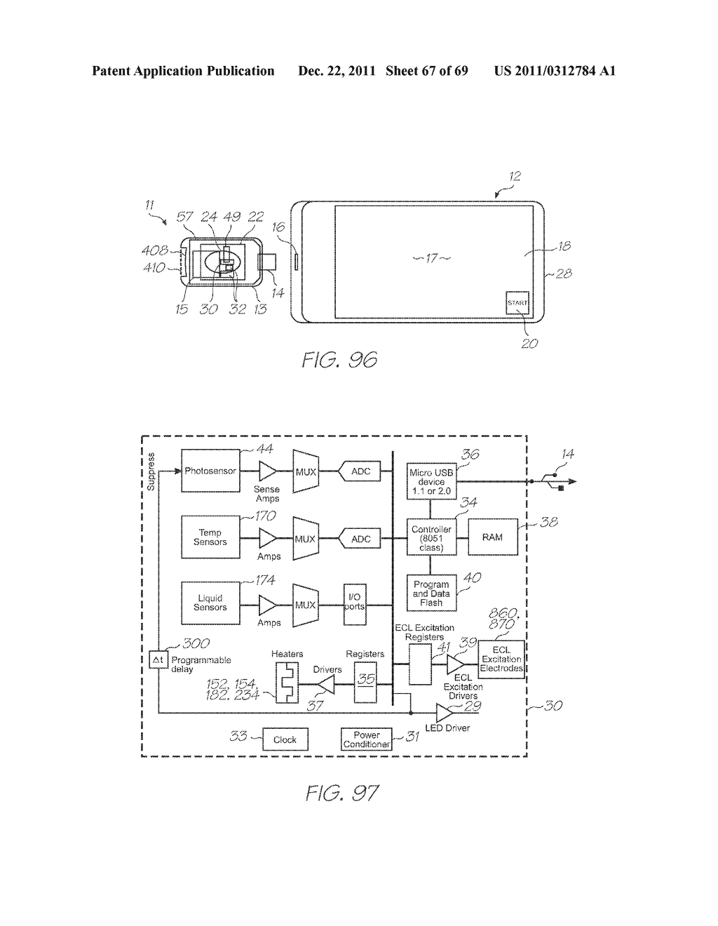 MICROFLUIDIC DEVICE FOR DETECTING TARGETS WITH PROBES, DETECTION     PHOTODIODES AND A CALIBRATION PHOTODIODE - diagram, schematic, and image 68
