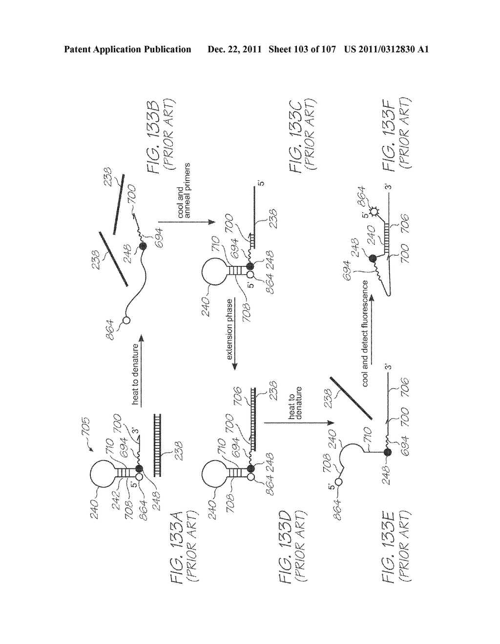GENETIC ANALYSIS LOC DEVICE WITH ELECTROCHEMILUMINESCENT PROBES HAVING A     FUNCTIONAL MOIETY FOR QUENCHING PHOTON EMISSIONS CONFIGURED TO CHANGE     PROXIMITY TO A LUMINOPHORE UPON FORMING A PROBE-TARGET HYBRID - diagram, schematic, and image 104