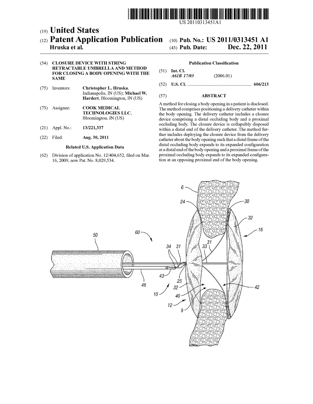 CLOSURE DEVICE WITH STRING RETRACTABLE UMBRELLA AND METHOD FOR CLOSING A     BODY OPENING WITH THE SAME - diagram, schematic, and image 01