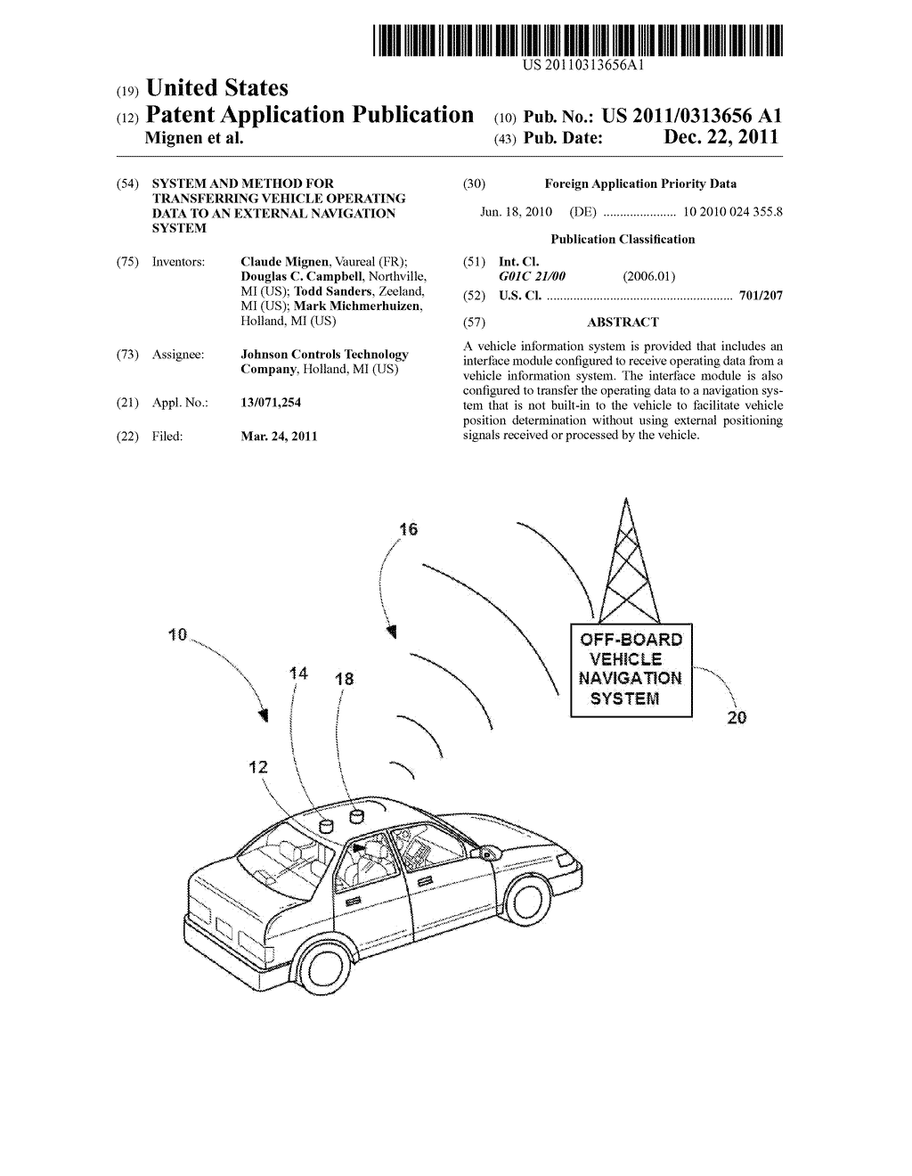 SYSTEM AND METHOD FOR TRANSFERRING VEHICLE OPERATING DATA TO AN EXTERNAL     NAVIGATION SYSTEM - diagram, schematic, and image 01