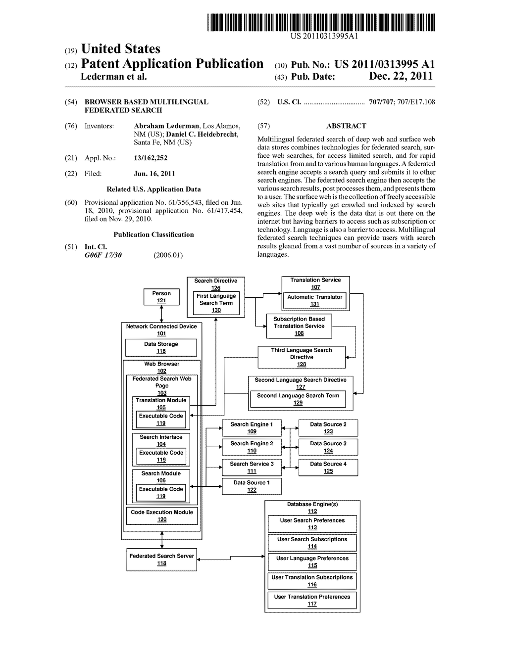 BROWSER BASED MULTILINGUAL FEDERATED SEARCH - diagram, schematic, and image 01