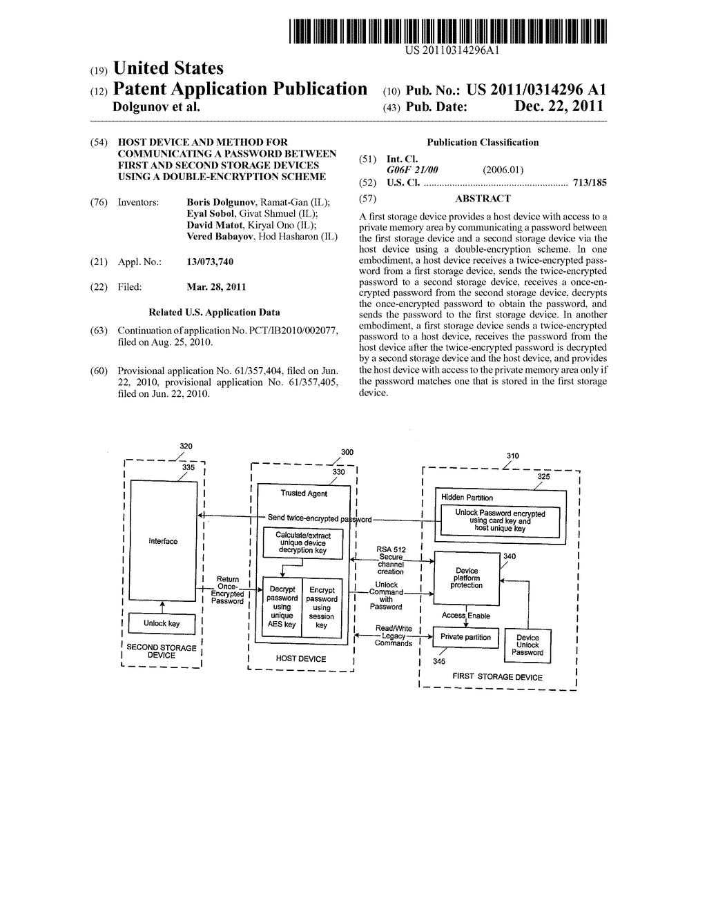 Host Device and Method for Communicating a Password between First and     Second Storage Devices Using a Double-Encryption Scheme - diagram, schematic, and image 01