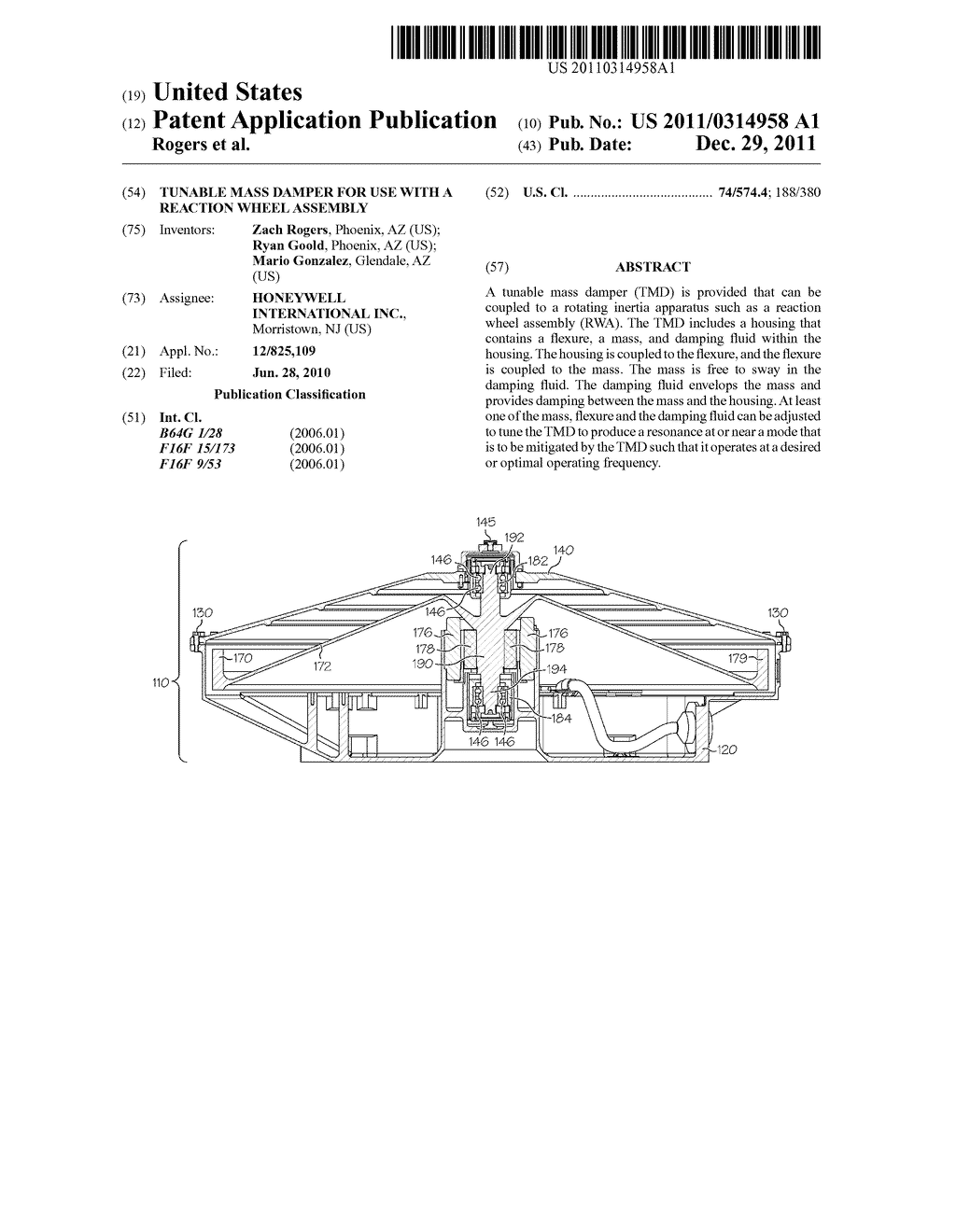 2689015478 TUNABLE MASS DAMPER FOR USE WITH A REACTION WHEEL ASSEMBLY - diagram ...