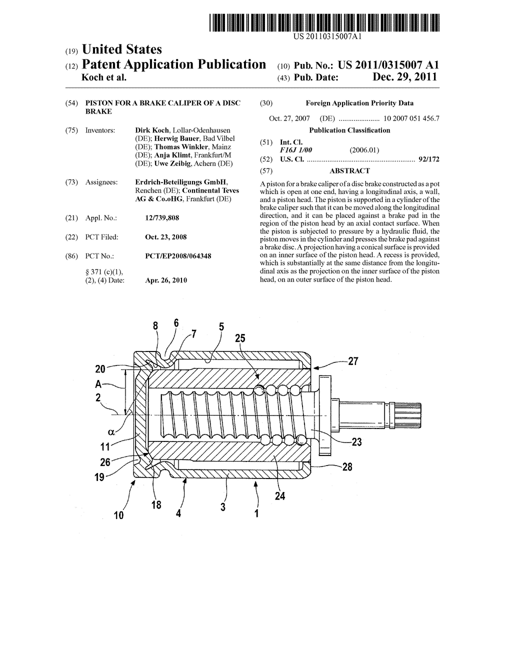 PISTON FOR A BRAKE CALIPER OF A DISC BRAKE - diagram, schematic, and image 01