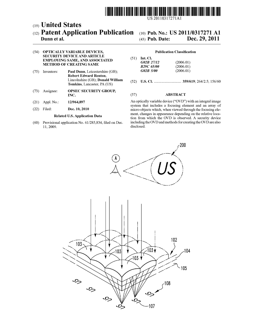OPTICALLY VARIABLE DEVICES, SECURITY DEVICE AND ARTICLE EMPLOYING SAME,     AND ASSOCIATED METHOD OF CREATING SAME - diagram, schematic, and image 01