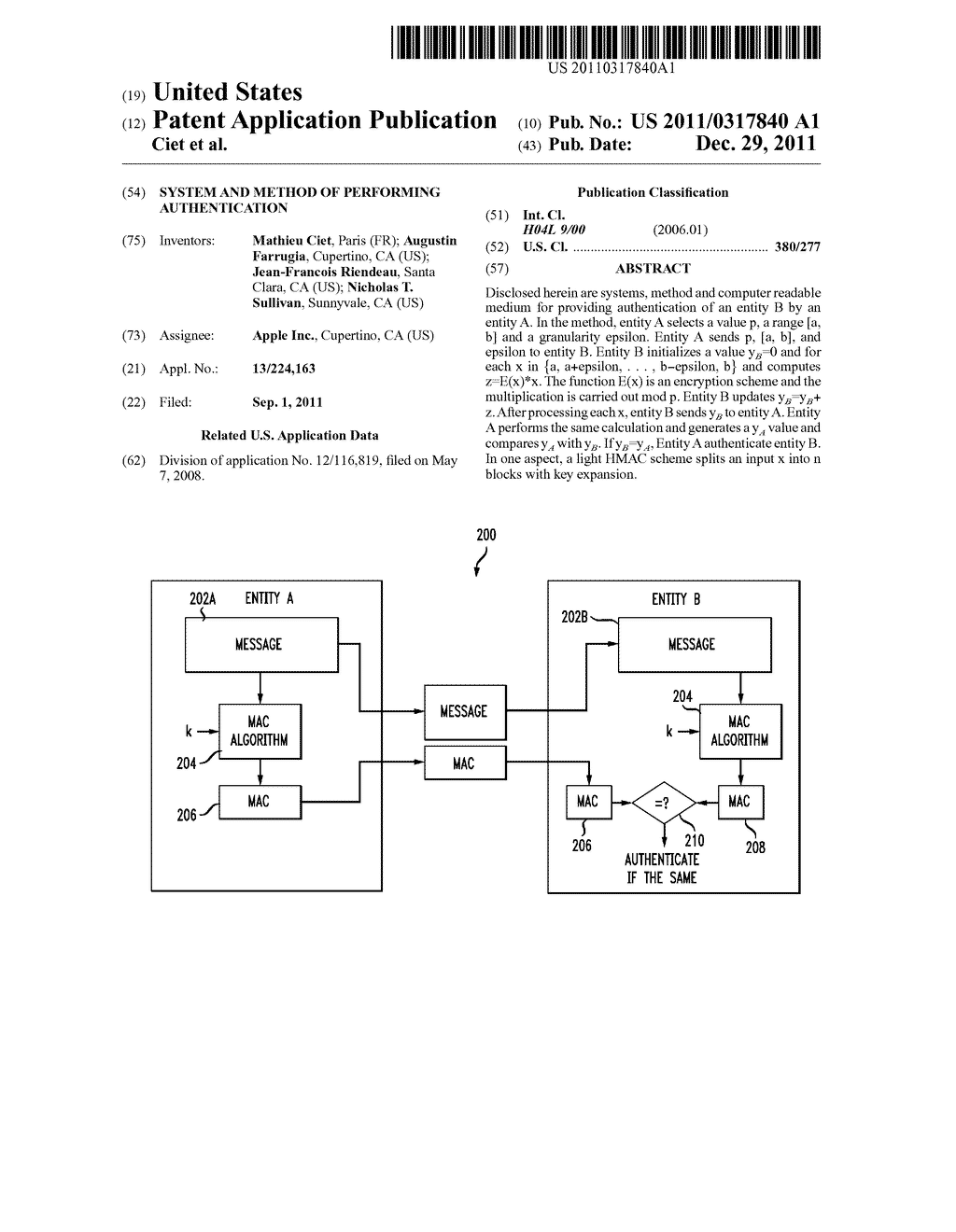 SYSTEM AND METHOD OF PERFORMING AUTHENTICATION - diagram, schematic, and image 01