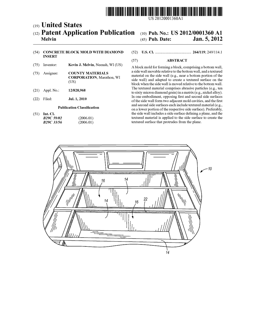 CONCRETE BLOCK MOLD WITH DIAMOND INSERT - diagram, schematic, and image 01