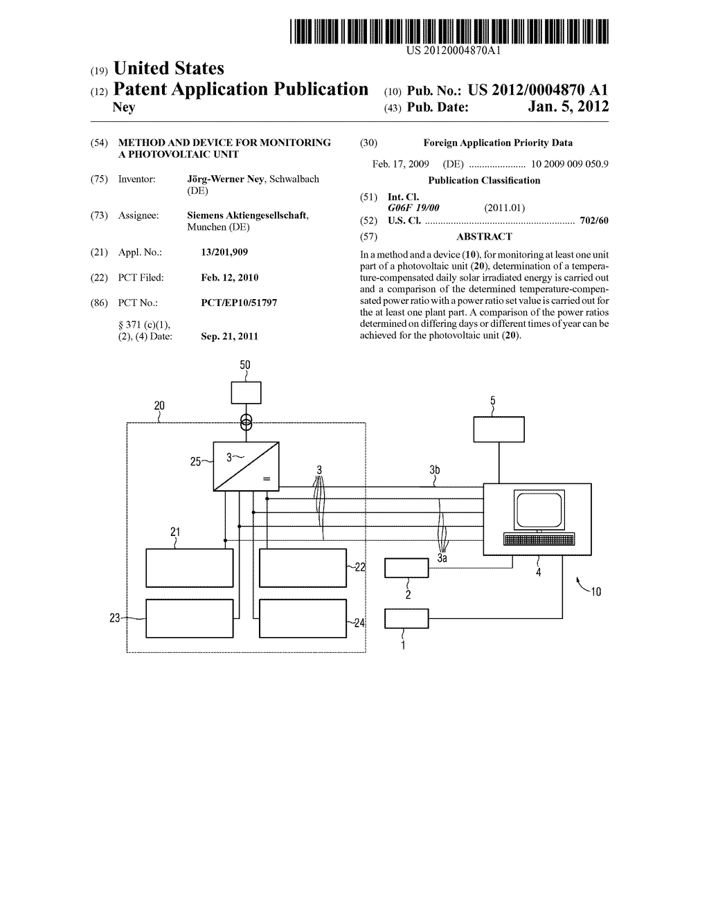 METHOD AND DEVICE FOR MONITORING A PHOTOVOLTAIC UNIT - diagram, schematic, and image 01