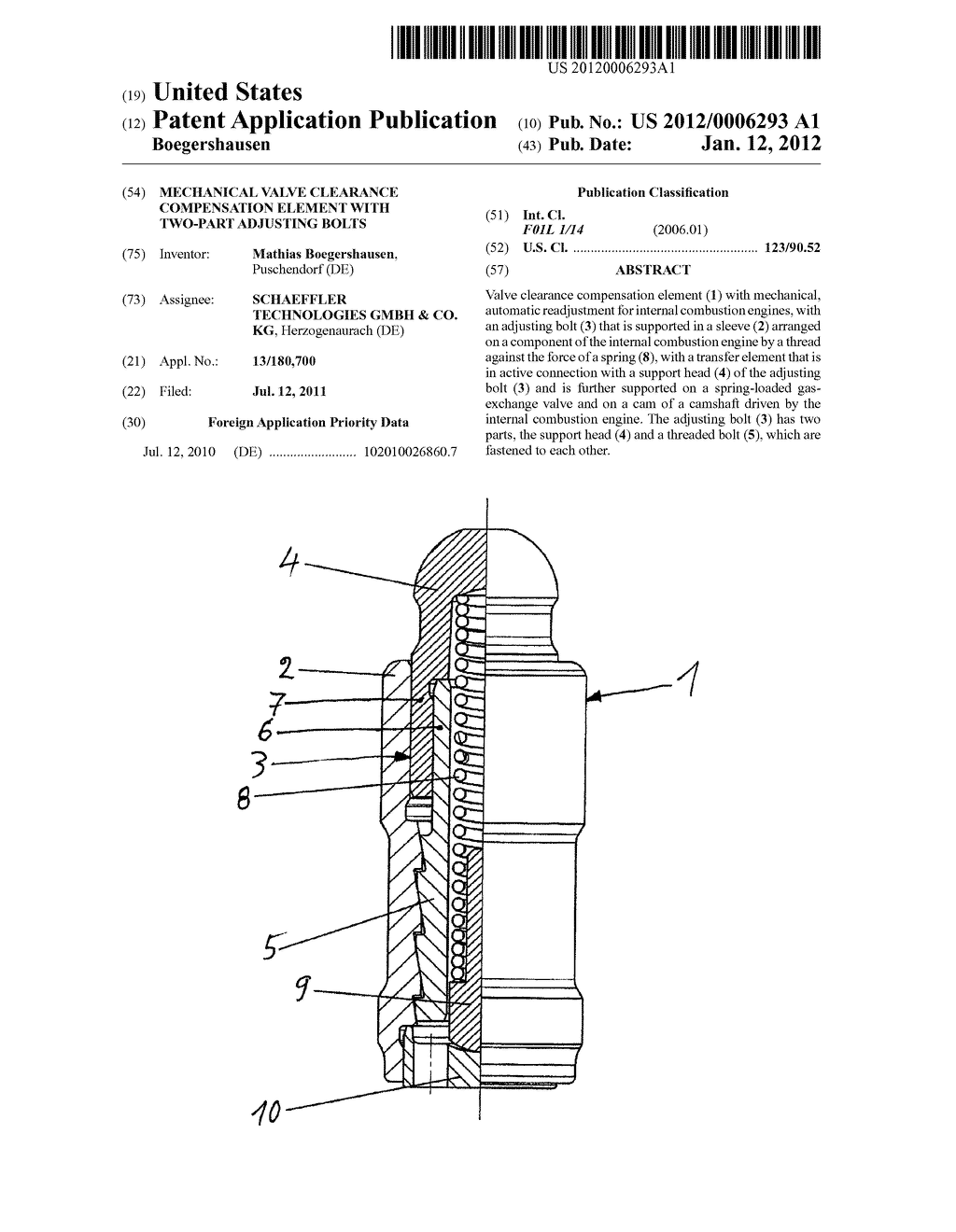 20120006293_01 mechanical valve clearance compensation element with two part