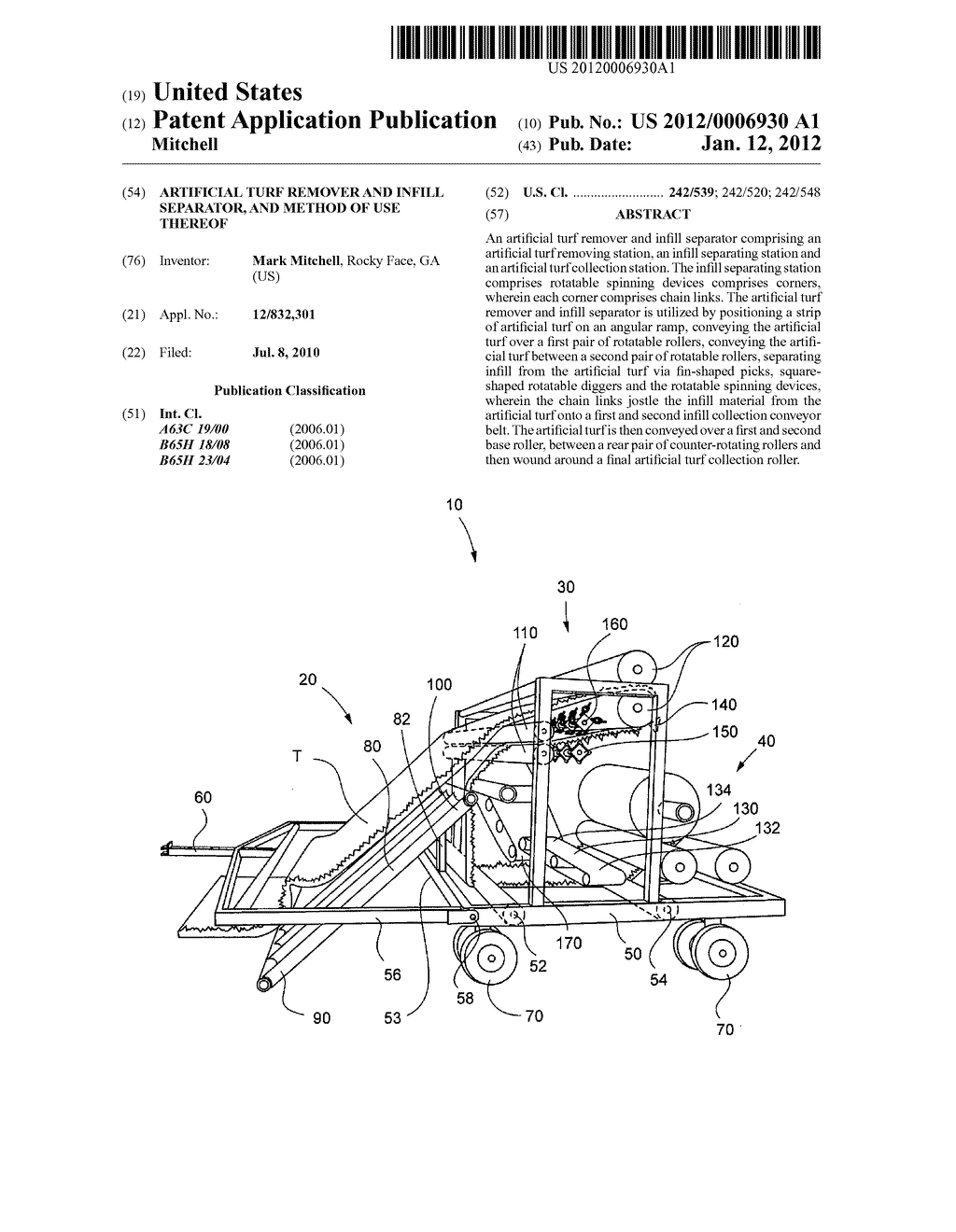 Artificial Turf Remover and Infill Separator, and Method of Use Thereof - diagram, schematic, and image 01