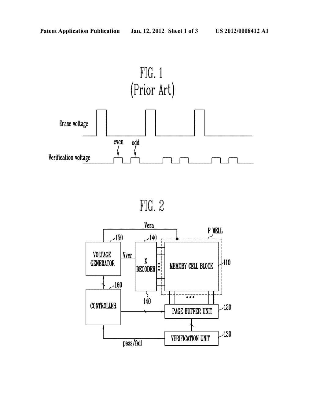 NONVOLATILE MEMORY DEVICE AND METHOD OF ERASING THE SAME - diagram, schematic, and image 02
