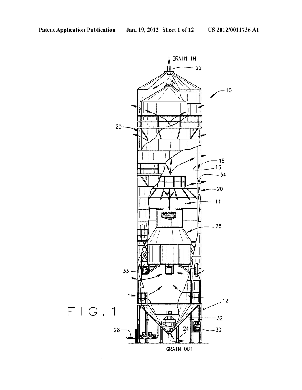 Grain Turner For Tower Dryer And Method Of Drying Diagram Schematic Image 02