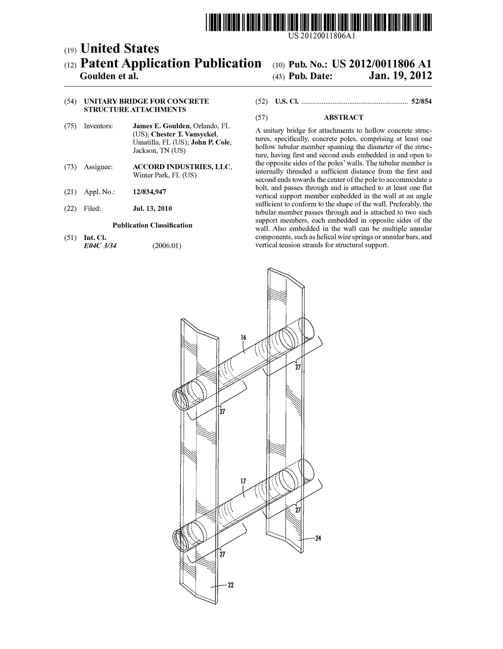UNITARY BRIDGE FOR CONCRETE STRUCTURE ATTACHMENTS - diagram, schematic, and image 01