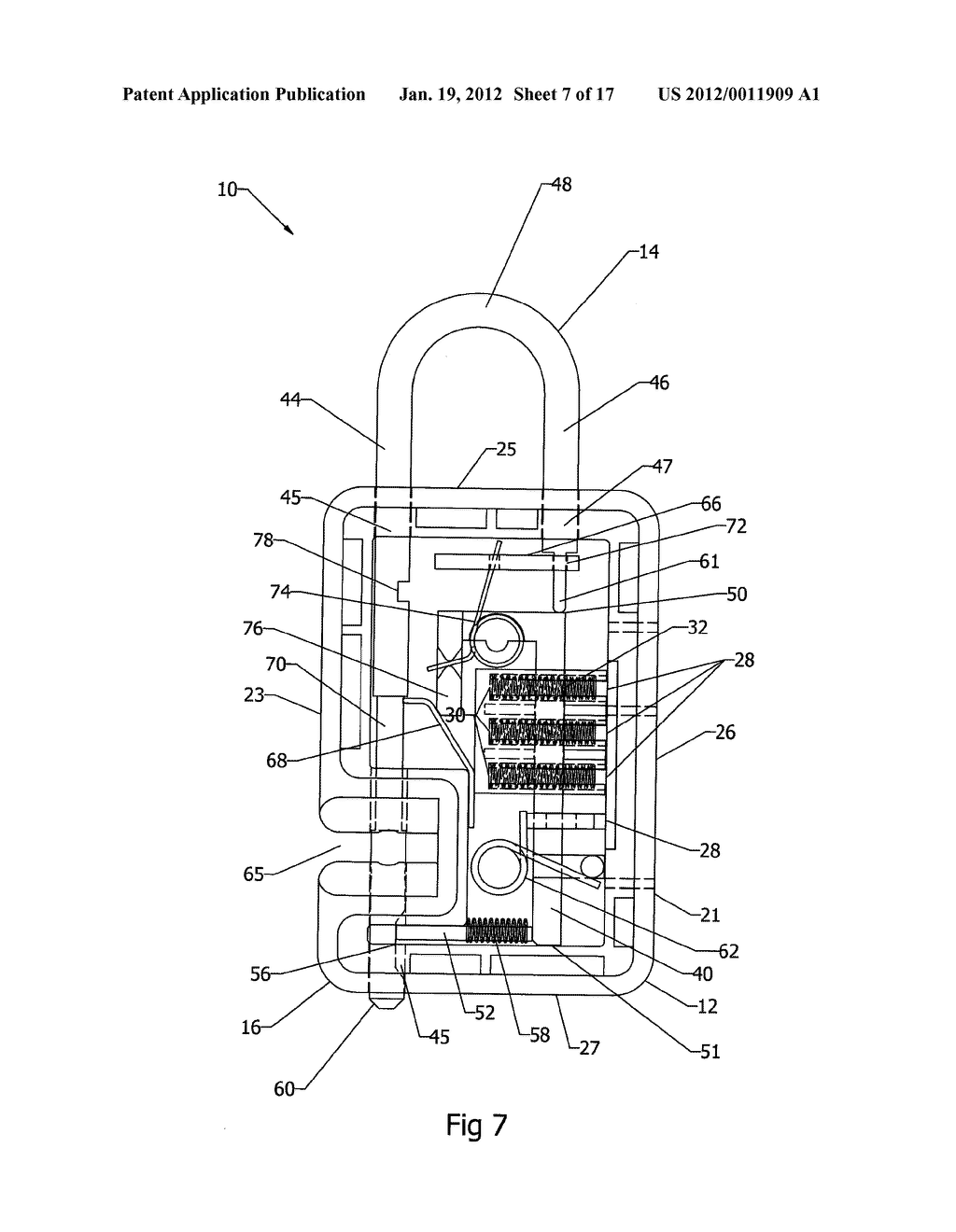 Locking Mechanism, for a Padlock for Example, in which a Shackle Can Be     Severed for Luggage Inspection and then Relocked - diagram, schematic, and image 08