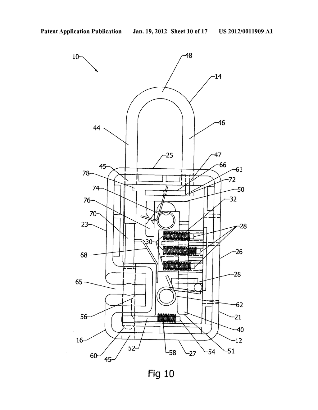 Locking Mechanism, for a Padlock for Example, in which a Shackle Can Be     Severed for Luggage Inspection and then Relocked - diagram, schematic, and image 11