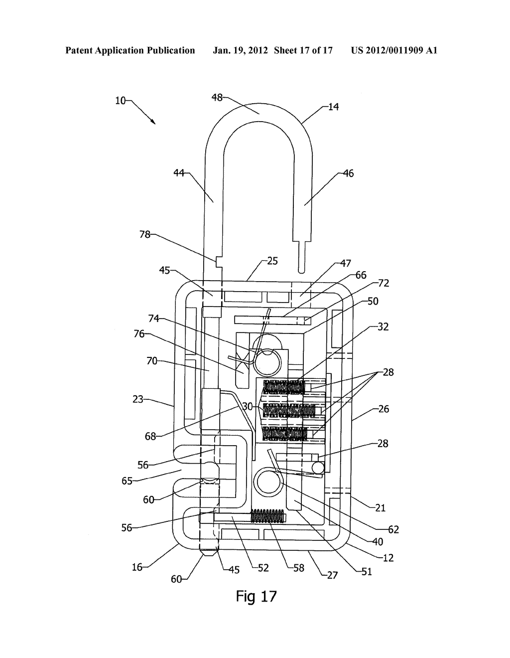 Locking Mechanism, for a Padlock for Example, in which a Shackle Can Be     Severed for Luggage Inspection and then Relocked - diagram, schematic, and image 18