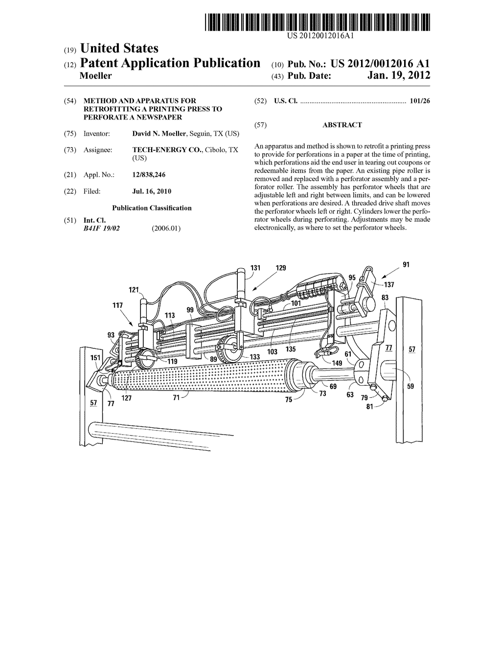 Method and Apparatus for Retrofitting a Printing Press to Perforate a     Newspaper - diagram, schematic, and image 01