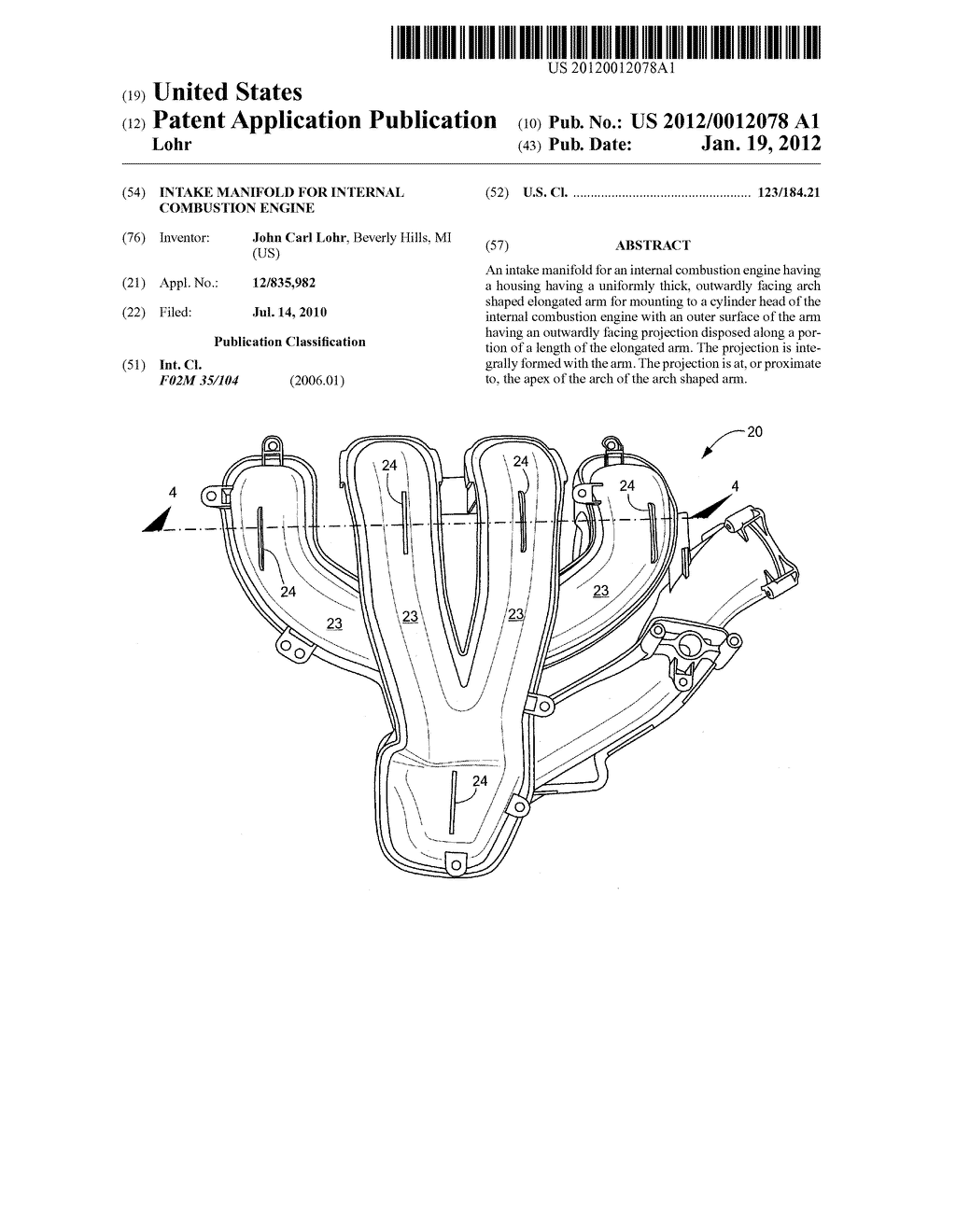 INTAKE MANIFOLD FOR INTERNAL COMBUSTION ENGINE - diagram, schematic, and  image 01