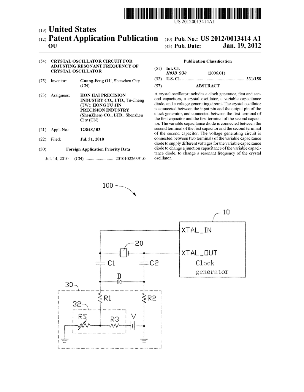 Crystal Oscillator Circuit For Adjusting Resonant Frequency Of