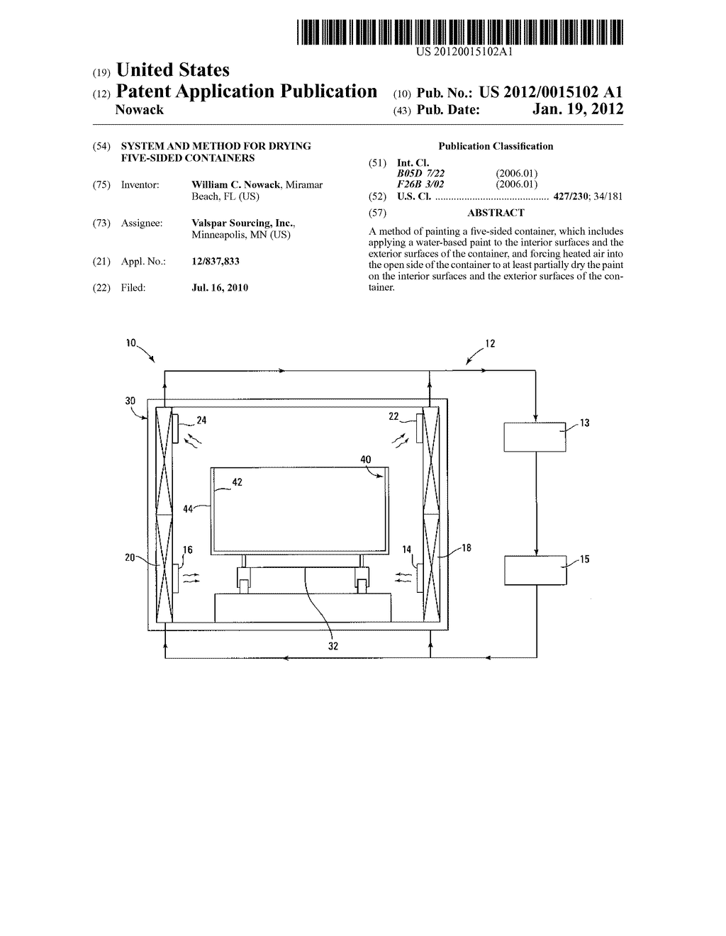 SYSTEM AND METHOD FOR DRYING FIVE-SIDED CONTAINERS - diagram, schematic, and image 01