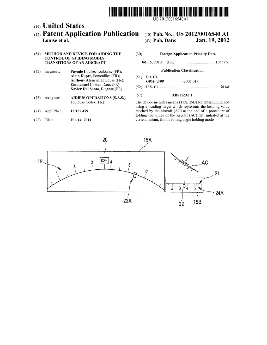 Method And Device For Aiding The Control Of Guiding Modes Transitions Of     An Aircraft - diagram, schematic, and image 01