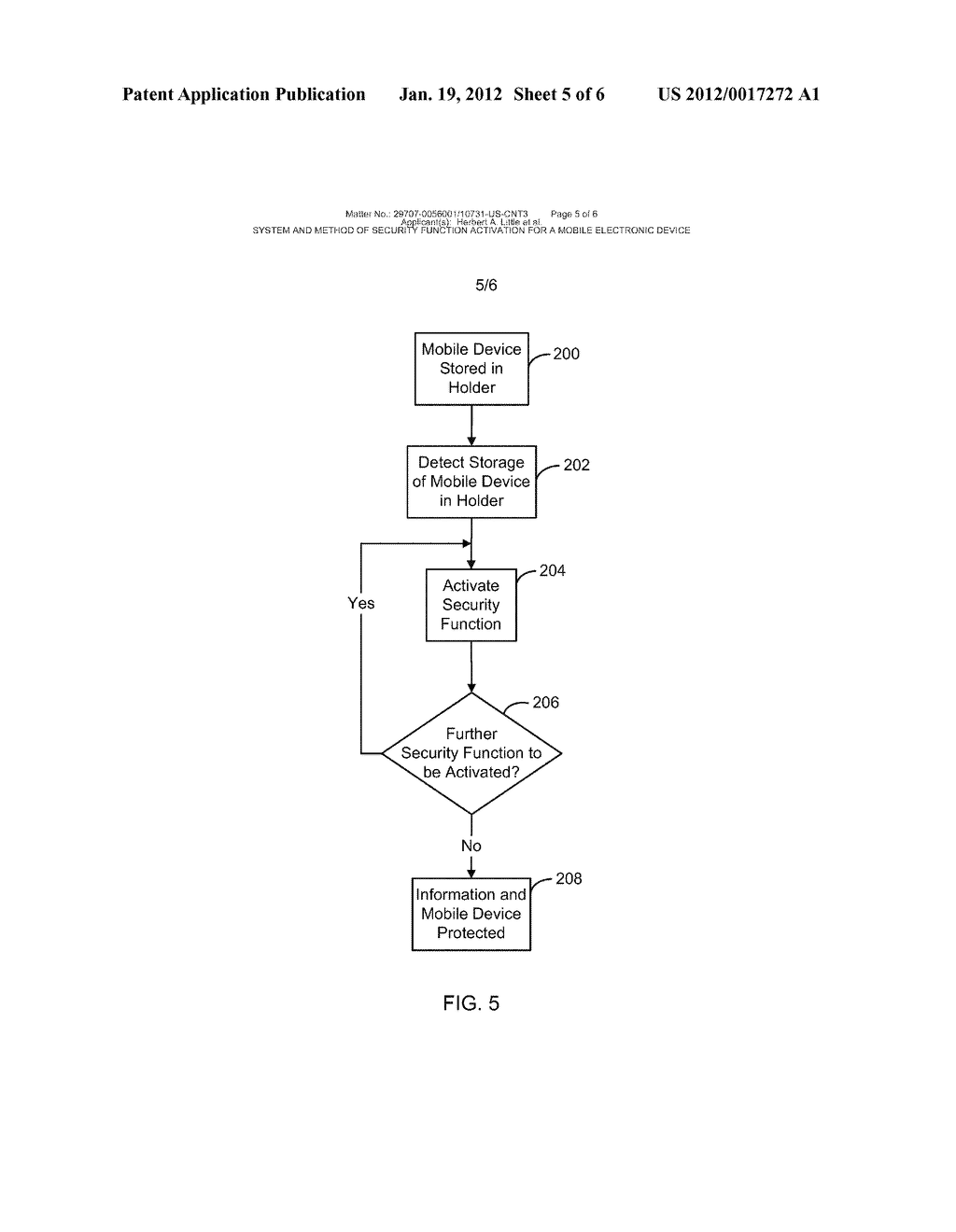 System and Method of Security Function Activation for a Mobile Electronic     Device - diagram, schematic, and image 06