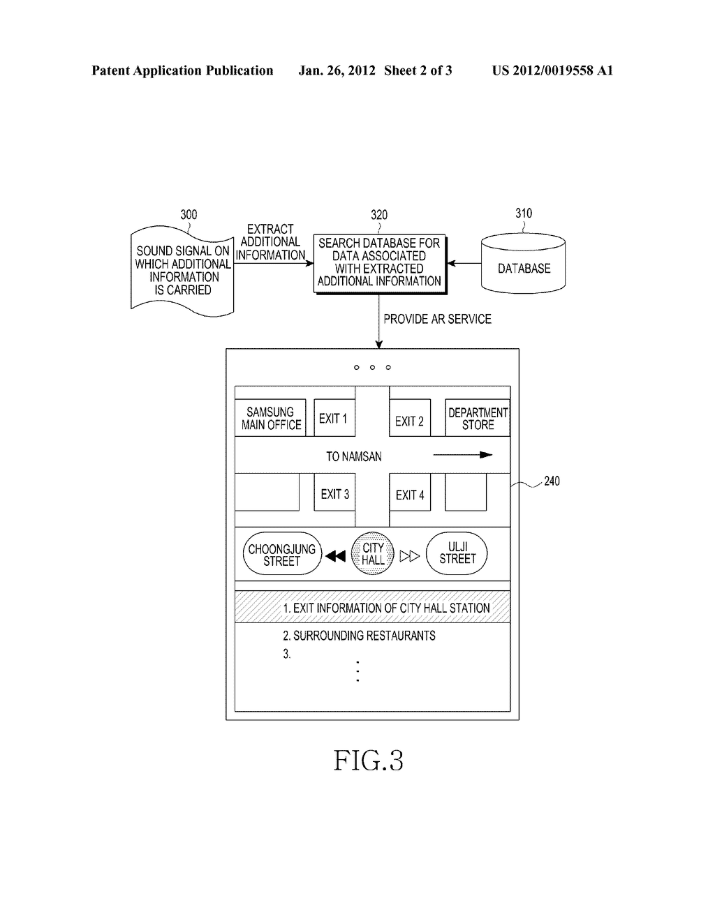 APPARATUS AND METHOD FOR PROVIDING AUGMENTED REALITY SERVICE USING SOUND - diagram, schematic, and image 03