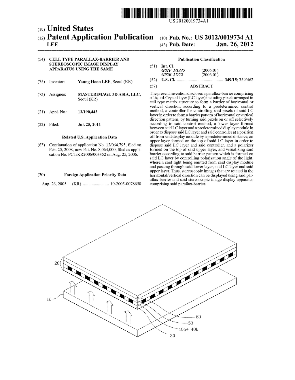 CELL TYPE PARALLAX-BARRIER AND STEREOSCOPIC IMAGE DISPLAY APPARATUS USING     THE SAME - diagram, schematic, and image 01