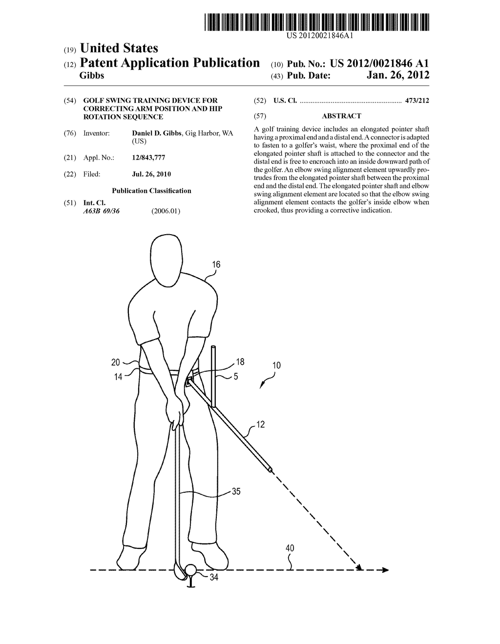 Golf Swing Training Device For Correcting Arm Position and Hip Rotation     Sequence - diagram, schematic, and image 01