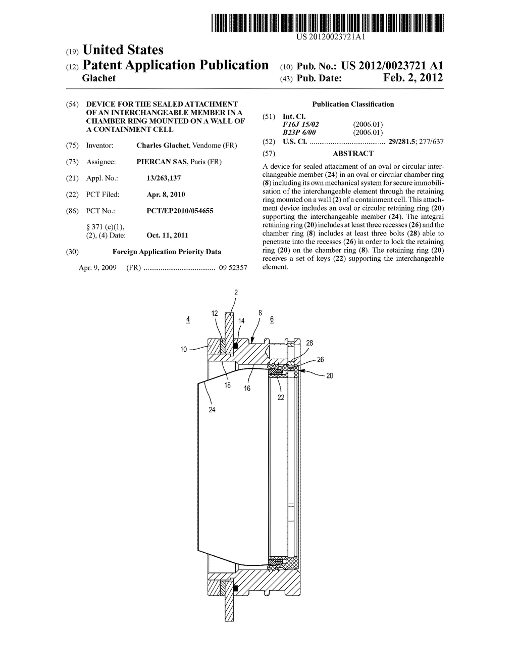 DEVICE FOR THE SEALED ATTACHMENT OF AN INTERCHANGEABLE MEMBER IN A CHAMBER     RING MOUNTED ON A WALL OF A CONTAINMENT CELL - diagram, schematic, and image 01
