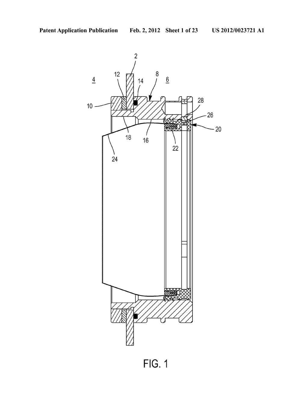 DEVICE FOR THE SEALED ATTACHMENT OF AN INTERCHANGEABLE MEMBER IN A CHAMBER     RING MOUNTED ON A WALL OF A CONTAINMENT CELL - diagram, schematic, and image 02