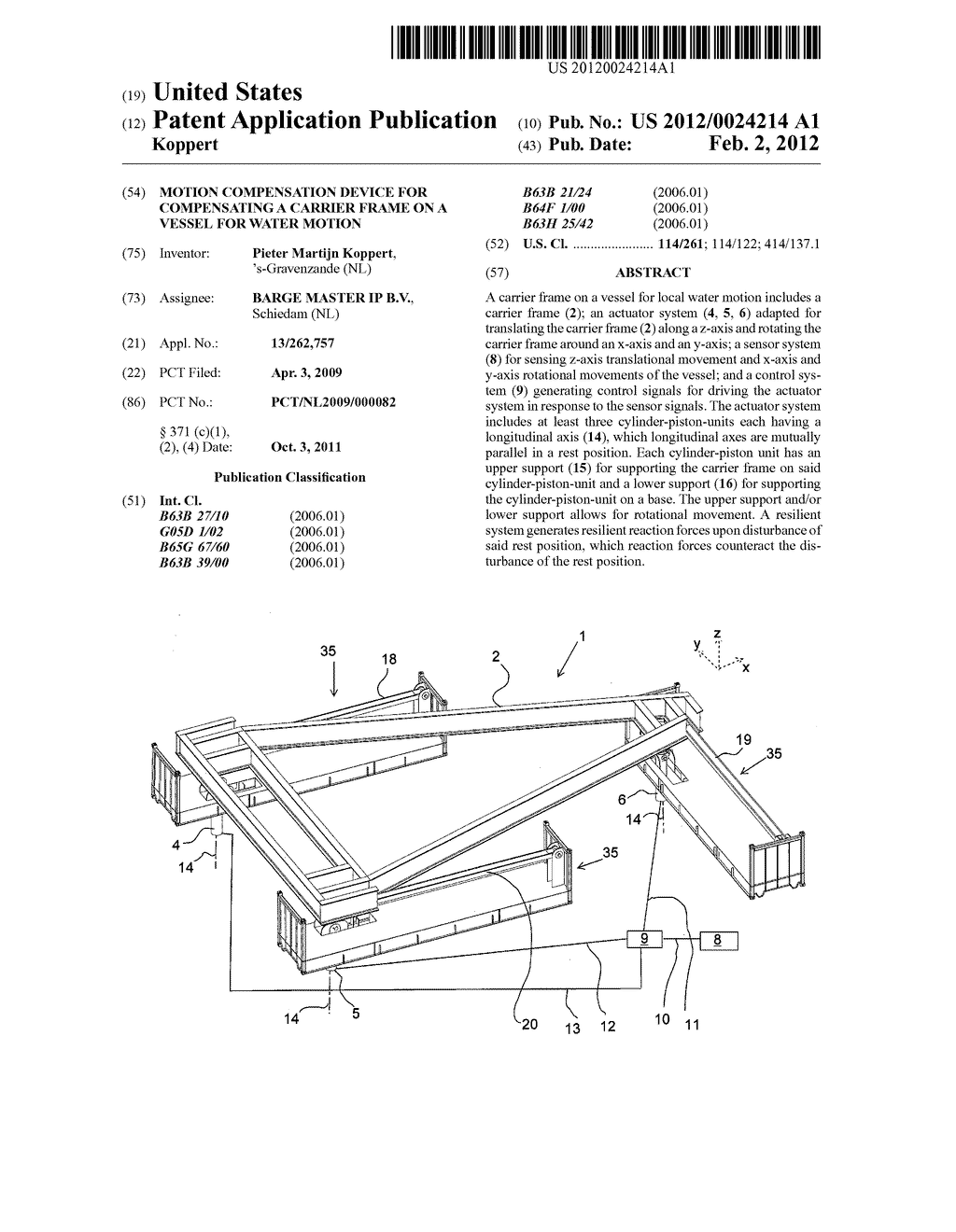 MOTION COMPENSATION DEVICE FOR COMPENSATING A CARRIER FRAME ON A VESSEL     FOR WATER MOTION - diagram, schematic, and image 01