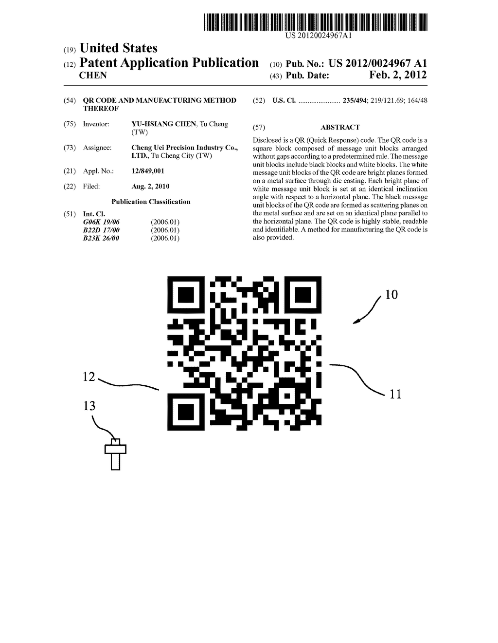 QR CODE AND MANUFACTURING METHOD THEREOF - diagram, schematic, and image 01