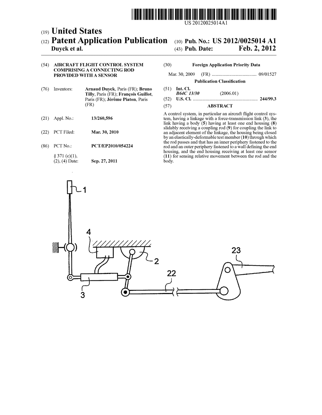 Aircraft Flight Control System Comprising A Connecting Rod Provided Bruno Wiring Diagram With Sensor Schematic And Image 01