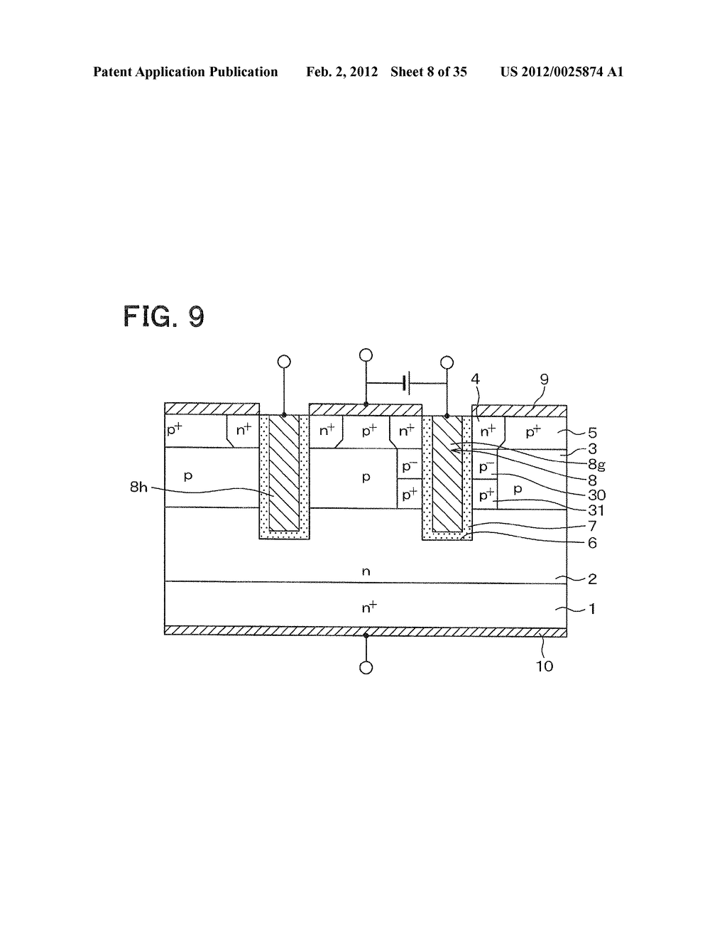 SEMICONDUCTOR DEVICE HAVING SWITCHING ELEMENT AND FREE WHEEL DIODE AND     METHOD FOR CONTROLLING THE SAME - diagram, schematic, and image 09