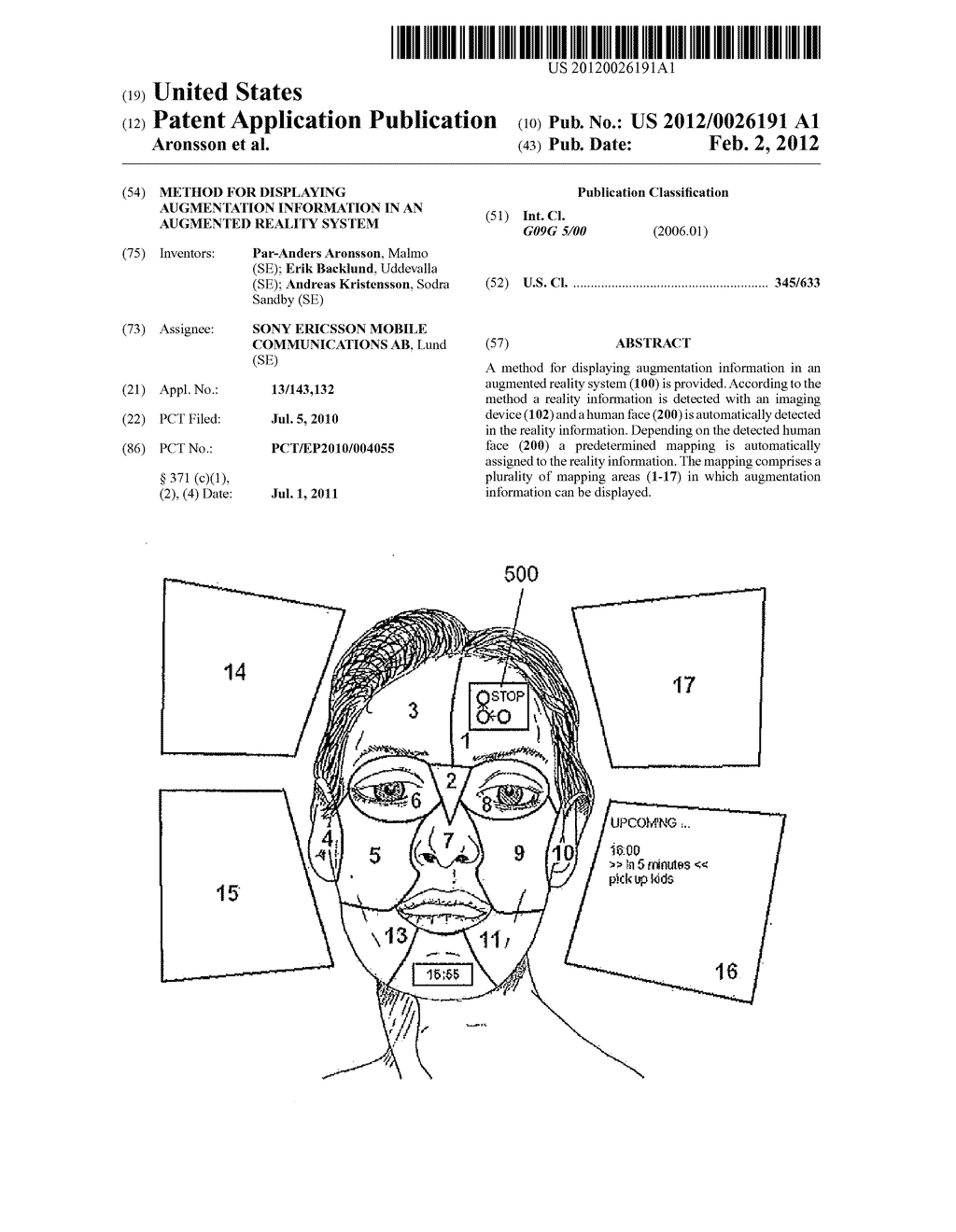 METHOD FOR DISPLAYING AUGMENTATION INFORMATION IN AN AUGMENTED REALITY     SYSTEM - diagram, schematic, and image 01