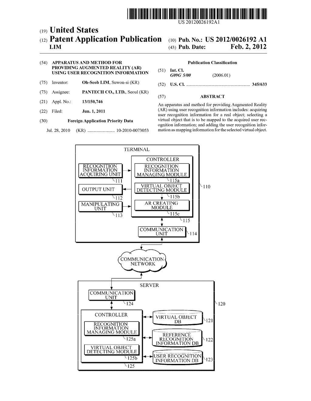APPARATUS AND METHOD FOR PROVIDING AUGMENTED REALITY (AR) USING USER     RECOGNITION INFORMATION - diagram, schematic, and image 01