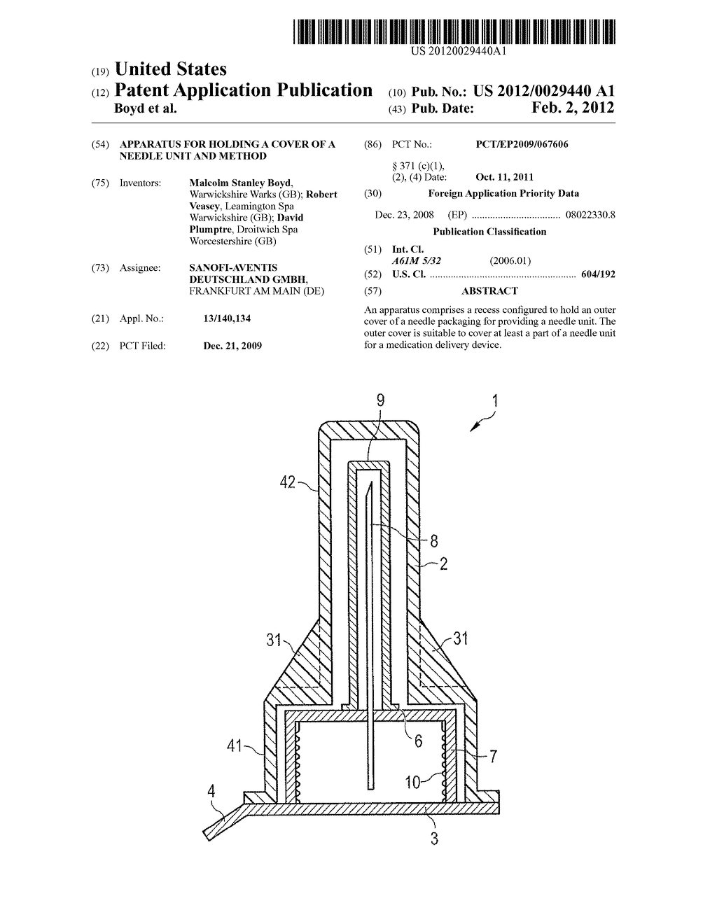 APPARATUS FOR HOLDING A COVER OF A NEEDLE UNIT AND METHOD - diagram, schematic, and image 01