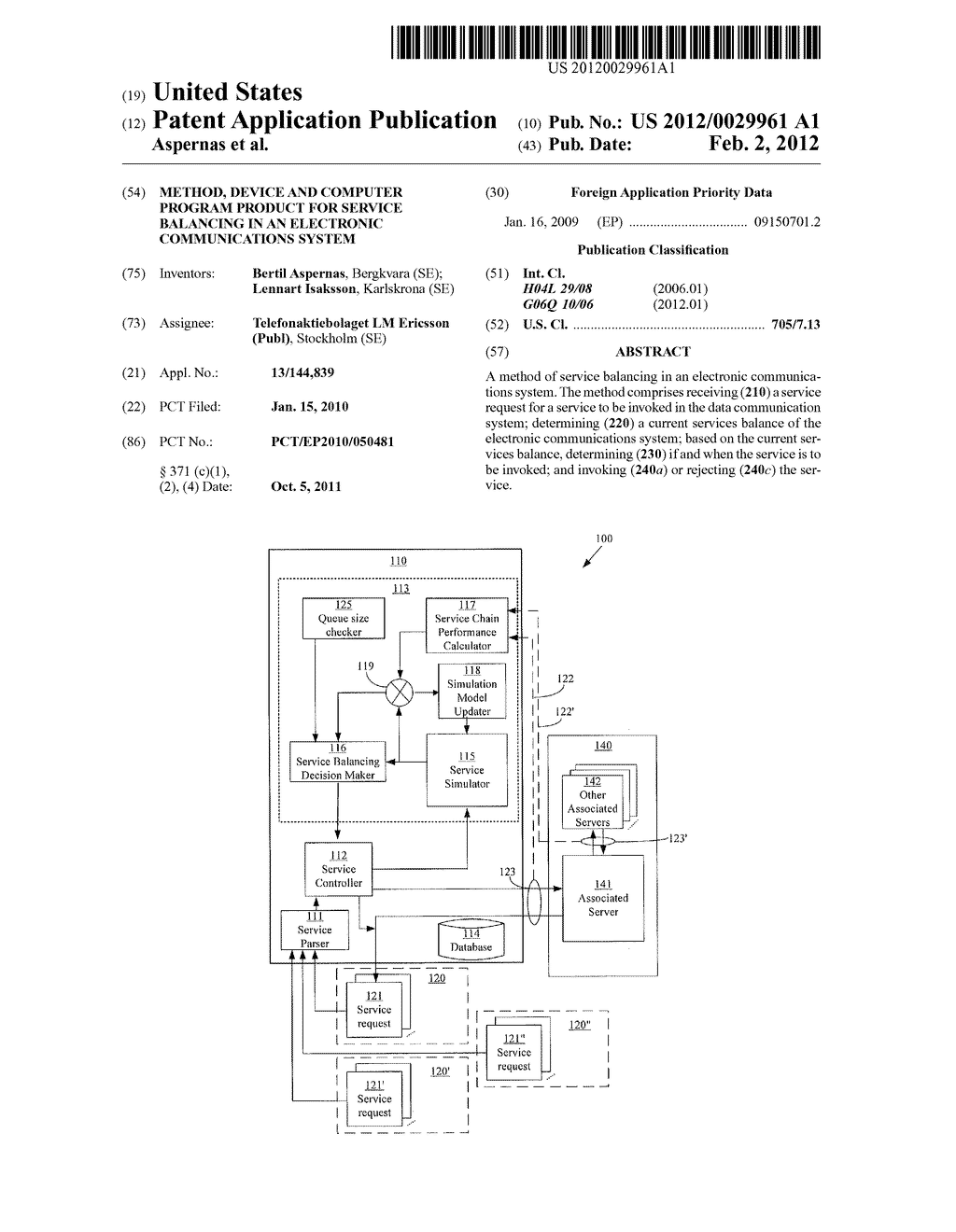 METHOD, DEVICE AND COMPUTER PROGRAM PRODUCT FOR SERVICE BALANCING IN AN     ELECTRONIC COMMUNICATIONS SYSTEM - diagram, schematic, and image 01