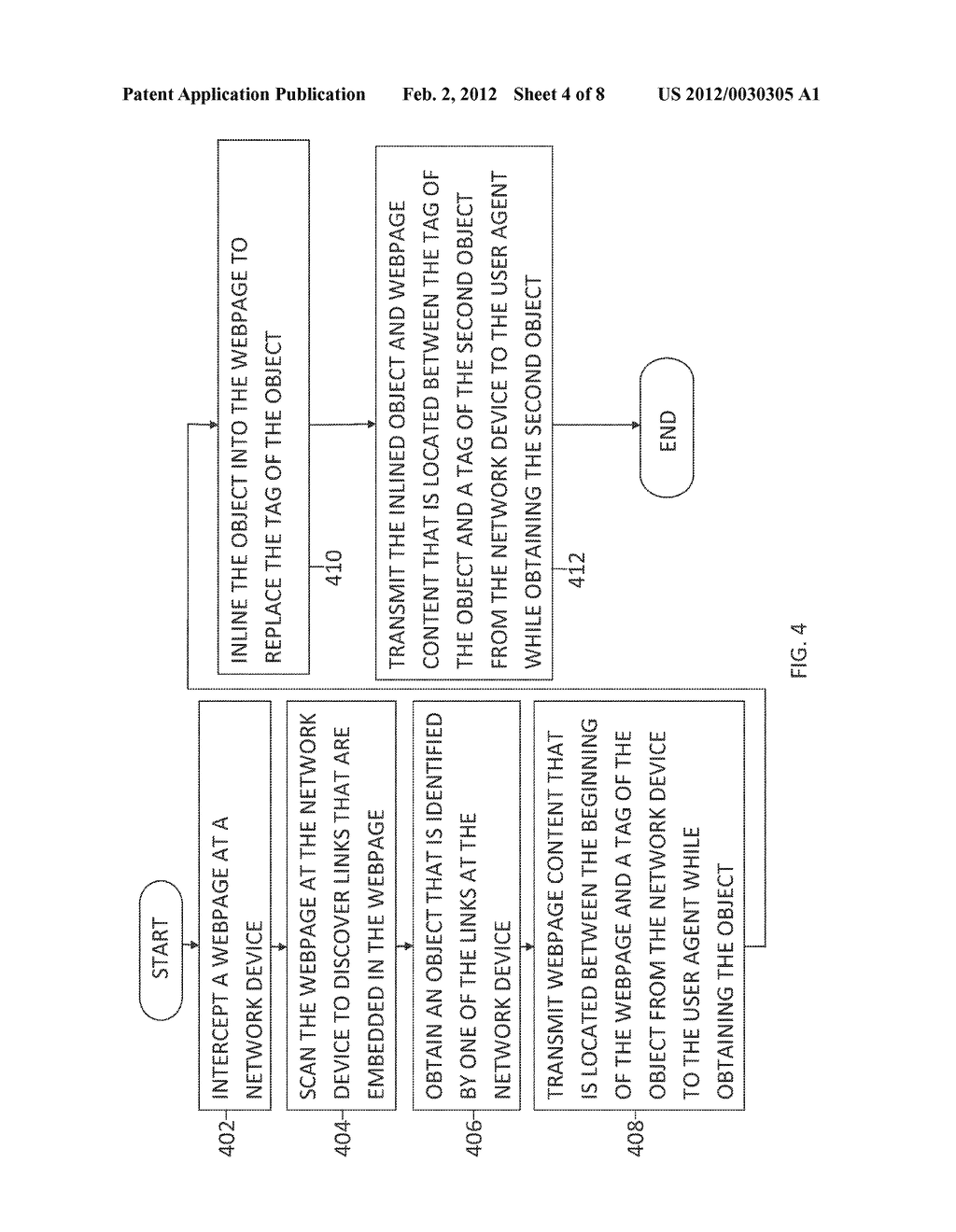 METHOD AND SYSTEM FOR DELIVERING EMBEDDED OBJECTS IN A WEBPAGE TO A USER     AGENT USING A NETWORK DEVICE - diagram, schematic, and image 05