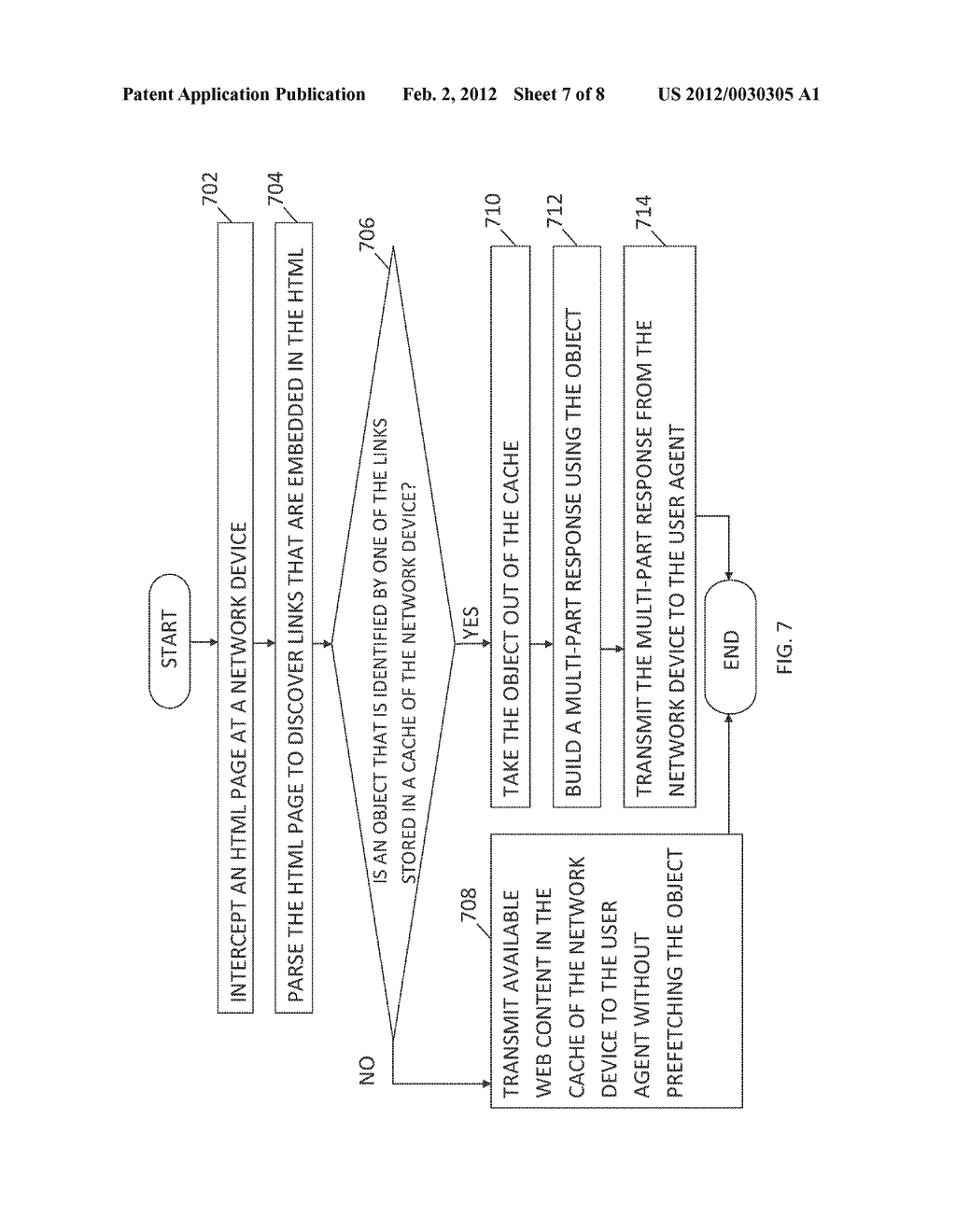 METHOD AND SYSTEM FOR DELIVERING EMBEDDED OBJECTS IN A WEBPAGE TO A USER     AGENT USING A NETWORK DEVICE - diagram, schematic, and image 08