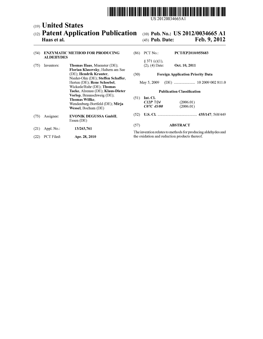 ENZYMATIC METHOD FOR PRODUCING ALDEHYDES - diagram, schematic, and image 01