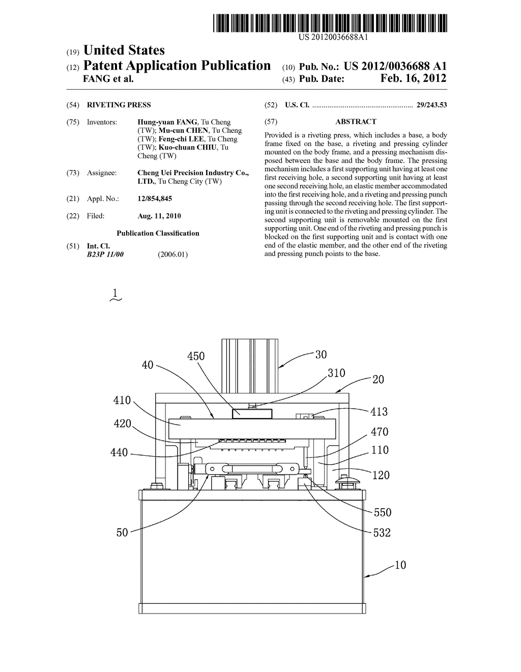 RIVETING PRESS - diagram, schematic, and image 01