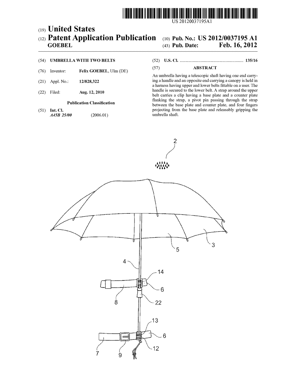UMBRELLA WITH TWO BELTS - diagram, schematic, and image 01