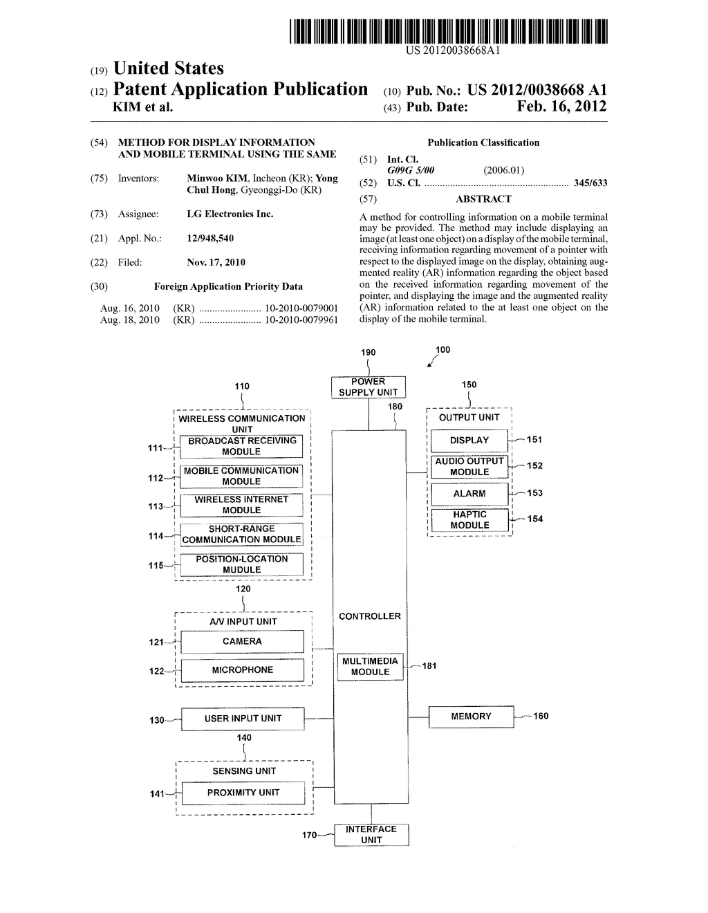 METHOD FOR DISPLAY INFORMATION AND MOBILE TERMINAL USING THE SAME - diagram, schematic, and image 01